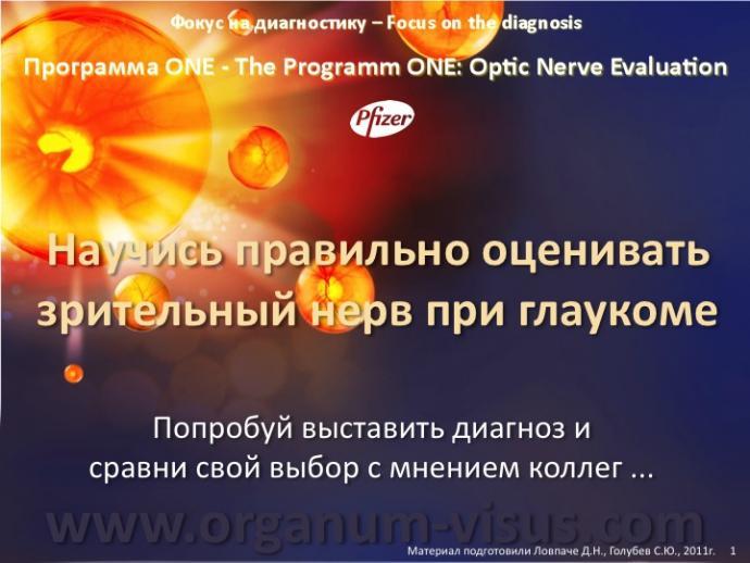 Фокус на диагностику. Focus on the diagnosis. Программа ONE, The Programm ONE: Optic Nerve Evaluation. Академия глаукомы.Клуб знатоков офтальмологии на портале Орган зрения www.organum-visus.com