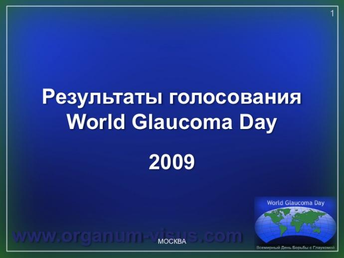 Академия Глаукомы. WGD-2009. Результаты голосования офтальмологов России-The vote of Russian Ophthalmologists. World Glaucoma Day 2009